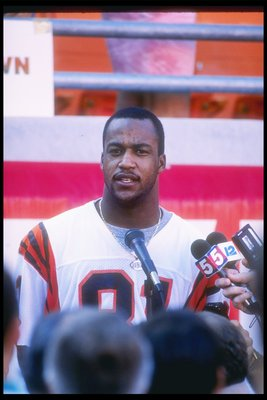 17 Jan 1989:  Wide receiver Eddie Brown of the Cincinnati Bengals is interviewed before Super Bowl XXIII with the San Francisco 49ers at the Joe Robbie Stadium in Miami, Florida.  The 49ers won over the Bengals, 20-16. Mandatory Credit: Rick Stewart  /All