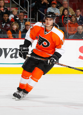PHILADELPHIA - NOVEMBER 01:  Eric Wellwood #47 of the Philadelphia Flyers skates against the Carolina Hurricanes in his first NHL game on November 1, 2010 at the Wells Fargo Center in Philadelphia, Pennsylvania. Flyers defeat the Hurricanes 3-2.  (Photo b