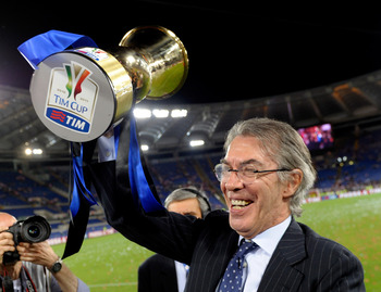 ROME, ITALY - MAY 29:  FC Internazionale Milano President Massimo Moratti celebrates after victory in the Tim Cup final during the Tim Cup final between FC Internazionale Milano and US Citta di Palermo at Olimpico Stadium on May 29, 2011 in Rome, Italy.