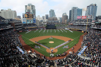 SAN DIEGO - APRIL 12:  Players stand on the field during the natioinal anthem before the game between the Atlanta Braves and the San Diego Padres on April 12, 2010 at Petco Park in San Diego, California.  (Photo by Stephen Dunn/Getty Images)