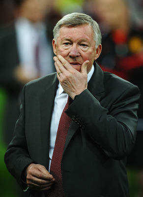 LONDON, ENGLAND - MAY 28:  Sir Alex Ferguson manager of Manchester United shows his dejection after the UEFA Champions League final between FC Barcelona and Manchester United FC at Wembley Stadium on May 28, 2011 in London, England.  (Photo by Laurence Gr