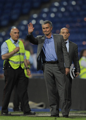 MADRID, SPAIN - MAY 21: Head Coach Jose Mourinho of Real Madrid waves to fans after his team beat UD Almeria 8-1  in the La Liga match at Estadio Santiago Bernabeu on May 21, 2011 in Madrid, Spain.  (Photo by Denis Doyle/Getty Images)