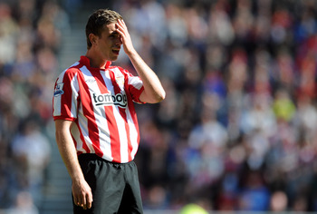 SUNDERLAND, ENGLAND - APRIL 30:  Jordan Henderson of Sunderland looks dejected during the Barclays Premier League match between Sunderland and Fulham at Stadium of Light on April 30, 2011 in Sunderland, England.  (Photo by Chris Brunskill/Getty Images)