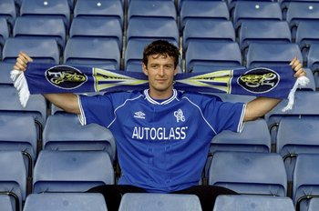5 Jul 1999:  Chris Sutton the former Blackburn Rovers player signs for Chelsea Football Club for the fee of 10 million pounds during a photo-shoot held in Chelsea, England. \ Mandatory Credit: Craig Prentis /Allsport