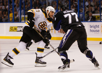 TAMPA, FL - MAY 25:  Milan Lucic #17 of the Boston Bruins shoots his first period goal through the legs of Victor Hedman #77 of the Tampa Bay Lightning in Game Six of the Eastern Conference Finals during the 2011 NHL Stanley Cup Playoffs at St Pete Times