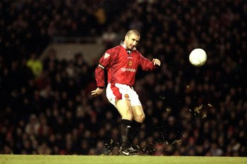 21 Dec 1996:  Eric Cantona of Manchester United in action during an FA Carling Premiership match against Sunderland at Old Trafford in Manchester, England. Manchester United won the match 5-0. \ Mandatory Credit: Mark  Thompson/Allsport