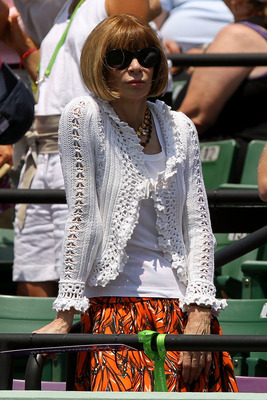 KEY BISCAYNE, FL - APRIL 03:  Editor-in-chief of American Vogue Anna Wintour watches the match between Rafael Nadal of Spain and Novak Djokovic of Serbia during the men's singles championship at the Sony Ericsson Open at Crandon Park Tennis Center on Apri