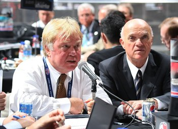 MONTREAL, QC - JUNE 27: (L-R) David Conte and Lou Lamoriello of the New Jersey Devils photographed during the 2009 NHL Entry Draft at the Bell Centre on June 27, 2009 in Montreal, Quebec, Canada. (Photo by Bruce Bennett/Getty Images)