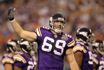MINNEAPOLIS - SEPTEMBER 19:  Jared Allen #69 of the Minnesota Vikings encourages the crowd during the first half of the game against the Miami Dolphins on September 19, 2010 at Hubert H. Humphrey Metrodome in Minneapolis, Minnesota.  (Photo by Jamie Squir