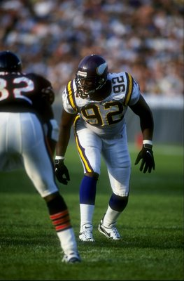27 Sep 1998:  Defensive end Duane Clemons #92 of the Minnesota Vikings lines up for a play during a game against the Chicago Bears at the Soldier Field in Chicago, Illinois. The Vikings defeated the Bears 31-28.