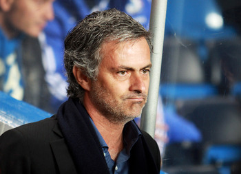 LONDON, ENGLAND - MARCH 16: Jose Mourinho, Coach of Inter Milan looks on ahead of the UEFA Champions League Round of 16 second leg match between Chelsea and Inter Milan at Stamford Bridge on March 16, 2010 in London, England.  (Photo by Phil Cole/Getty Im