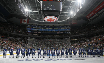 TORONTO, CANADA - OCTOBER 07: The Leaf team is introduced during an opening night pre-game ceremony before a regular season NHL game between the Toronto Maple Leafs  and the Montreal Canadiens at the Air Canada Centre October 7, 2010 in Toronto, Ontario,