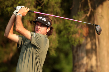 BETHESDA, MD - JUNE 17:  Bubba Watson hits a tee shot on the 17th hole during the second round of the 111th U.S. Open at Congressional Country Club on June 17, 2011 in Bethesda, Maryland.  (Photo by Ross Kinnaird/Getty Images)