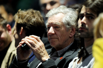 LONDON, ENGLAND - NOVEMBER 27:  Sir Ian McKellen watches the Roger Federer and Novak Djokovic men's semi-final match during the ATP World Tour Finals at O2 Arena on November 27, 2010 in London, England.  (Photo by Matthew Lewis/Getty Images)