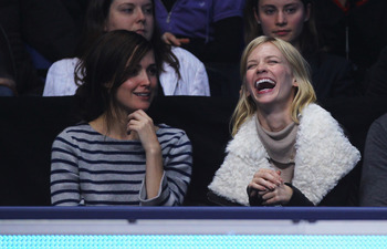 LONDON, ENGLAND - NOVEMBER 22: Actresses January Jones (R) and Rose Byrne attend the singles match between Rafael Nadal of Spain and Andy Roddick of the United States during the Barclays ATP World Tour Finals at the O2 Arena on November 22, 2010 in London