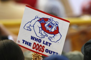 OMAHA, NE - JUNE 23:  A fan holds up a sign for the Fresno State Bulldogs during Game 1 of the 2008 Men's College World Series Championship of the Georgia Bulldogs on June 23, 2008 at Rosenblatt Stadium in Omaha, Nebraska.  (Photo by Kevin C. Cox/Getty Im