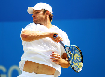 LONDON, ENGLAND - JUNE 11:  Andy Roddick of the United States in action during his Men's Singles semi final match against Andy Murray of Great Britain on day six of the AEGON Championships at Queens Club on June 11, 2011 in London, England.  (Photo by Jul