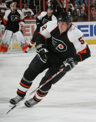 PHILADELPHIA - SEPTEMBER 22: Matt Clackson #52 of the Philadelphia Flyers skates against the New Jersey Devils on September 22, 2008 at the Wachovia Center in Philadelphia, Pennsylvania. The Flyers defeated the Devils 4-1. (Photo by Bruce Bennett/Getty Im