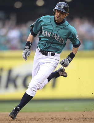 SEATTLE - JUNE 17:  Ichiro Suzuki #51 of the Seattle Mariners rounds third base to score in the third inning against the Philadelphia Phillies at Safeco Field on June 17, 2011 in Seattle, Washington. The Mariners defeated the Phillies 4-2. (Photo by Otto