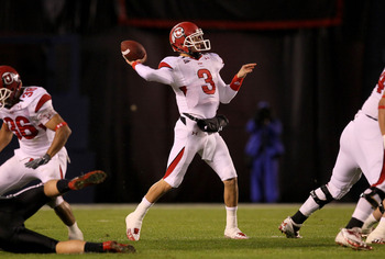 SAN DIEGO - NOVEMBER 20:  Quarterback Jordan Wynn #3 of the Utah Utes throws a pass against the San Diego State Aztecs at Qualcomm Stadium on November 20, 2010 in San Diego, California.  Utah won 38-34.  (Photo by Stephen Dunn/Getty Images)