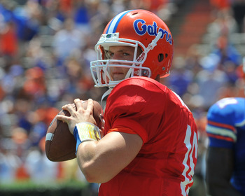 GAINESVILLE, FL - APRIL 9:  Quarterback John Brantley #12 of the Florida Gators warms up at halftime during the Orange and Blue spring football game April 9, 2011 at Ben Hill Griffin Stadium in  Gainesville, Florida.  (Photo by Al Messerschmidt/Getty Imag