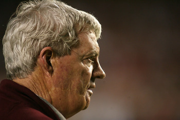 MIAMI, FL - JANUARY 03: Head coach Frank Beamer of the Virginia Tech Hokies looks on against the Stanford Cardinal during the 2011 Discover Orange Bowl at Sun Life Stadium on January 3, 2011 in Miami, Florida. Stanford won 40-12. (Photo by Marc Serota/Get