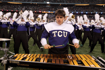 ARLINGTON, TX - FEBRUARY 06:  The TCU marching band performs during Super Bowl XLV at Cowboys Stadium on February 6, 2011 in Arlington, Texas.  (Photo by Jamie Squire/Getty Images)