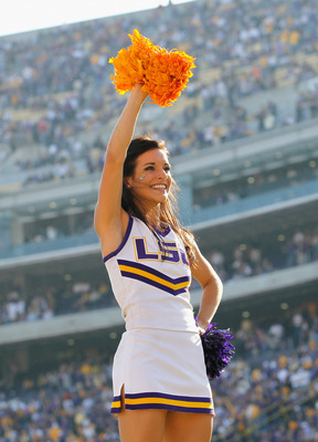 BATON ROUGE, LA - NOVEMBER 20:  A cheerleaderof the Louisiana State University Tigers cheers against the Ole Miss Rebels at Tiger Stadium on November 20, 2010 in Baton Rouge, Louisiana.  (Photo by Kevin C. Cox/Getty Images)