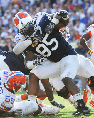 TAMPA, FL - JANUARY 1:  Defensive tackle Ollie Ogbu #85 of the Penn State Nittany Lions rushes the pocket against the Florida Gators January 1, 2010 in the 25th Outback Bowl at Raymond James Stadium in Tampa, Florida.  (Photo by Al Messerschmidt/Getty Ima