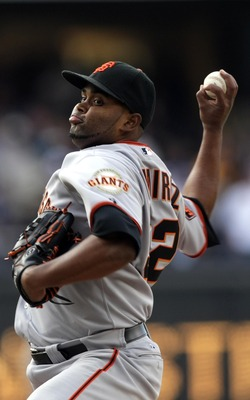 SAN DIEGO, CA - APRIL 5:  Pitcher Ramon Ramirez #52 of the San Francisco Giants throws from the mound against the San Diego Padres during their MLB Game at Petco Park on April 5, 2011 in San Diego, California. (Photo by Donald Miralle/Getty Images)