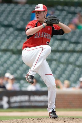 CHICAGO, IL - AUGUST 17: Tyler Matzek #31 of the Team One team (red jersey) pitches against of the Baseball Factory team during the Under Armour All-America Baseball Game at Wrigley Field on August 17, 2008 in Chicago, Illinois.  (Photo by Dilip Vishwanat