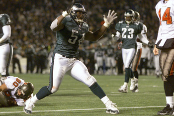 12 Jan 2002:  Jeremiah Trotter #54 of the Philadelphia Eagles reacts during the NFC Wildcard game against the Tampa Bay Buccaneers at Veterans Stadium in Philadelphia, Pennsylvania. Digital Image. The Eagles won 31-9. Mandatory Credit: Jamie Squire/Getty