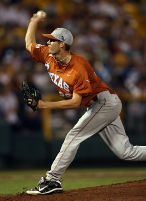 OMAHA, NE - JUNE 23:  Taylor Jungmann #26 of the Texas Longhorns delivers a pitch against the Louisiana State University Tigers during Game 2 of the 2009 NCAA College World Series at Rosenblatt Stadium on June 23, 2009 in Omaha, Nebraska. The Longhorns de