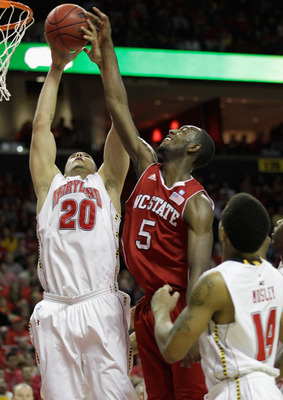 COLLEGE PARK, MD - FEBRUARY 20: Jordan Williams #20 of the  Maryland Terrapians goes up for a rebound against C.J. Leslie #5 of the NC State Wolfpack at the Comcast Center on February 20, 2011 in College Park, Maryland.  (Photo by Rob Carr/Getty Images)