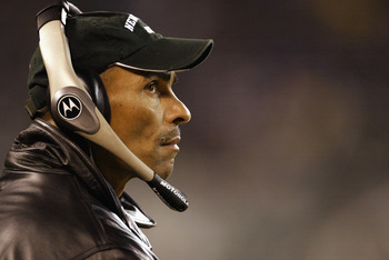 EAST RUTHERFORD, NJ - DECEMBER 8:  Herman Edwards head coach of the New York Jets looks on during the game against the Denver Broncos on December 8, 2002 at Giants Stadium in East Rutherford, New Jersey.  (Photo by Al Bello/Getty Images)