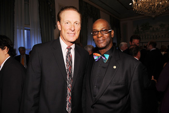 NEW YORK - SEPTEMBER 27:  Former professional NBA player Rick Barry and former olympian Bob Beamon attend the 25th Great Sports Legends Dinner to benefit The Buoniconti Fund to Cure Paralysis at The Waldorf=Astoria on September 27, 2010 in New York City.
