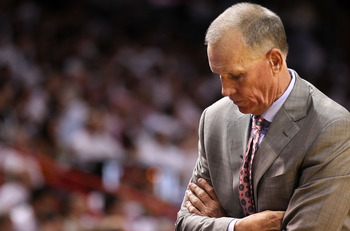 MIAMI, FL - APRIL 27:  Philadelphia 76ers head coach Doug Collins looks on during game five of the Eastern Conference Quarterfinals in the 2011 NBA Playoffs against the Miami Heat at American Airlines Arena on April 27, 2011 in Miami, Florida. NOTE TO USE
