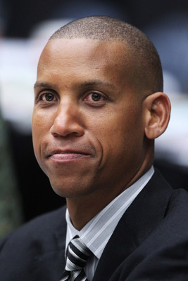 TUCSON, AZ - MARCH 17:  Former NBA player Reggie Miller attends the game between the San Diego State Aztecs and the Northern Colorado Bears during the second round of the 2011 NCAA men's basketball tournament at McKale Center on March 17, 2011 in Tucson,