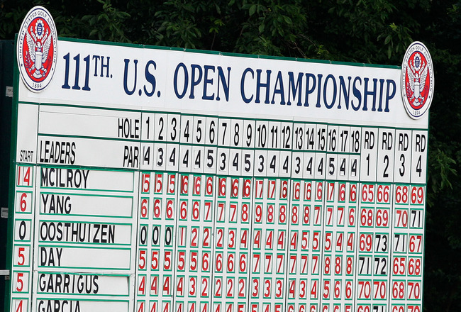BETHESDA, MD - JUNE 19:  The final leaderboard is seen after the final round of the 111th U.S. Open at Congressional Country Club on June 19, 2011 in Bethesda, Maryland.  (Photo by Rob Carr/Getty Images)