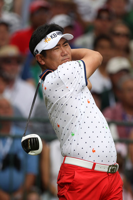 BETHESDA, MD - JUNE 19:  Y.E. Yang of South Korea watches his tee shot on the first hole during the final round of the 111th U.S. Open at Congressional Country Club on June 19, 2011 in Bethesda, Maryland.  (Photo by Andrew Redington/Getty Images)