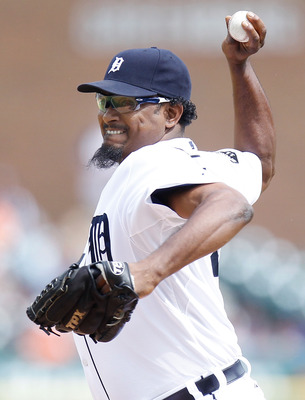 DETROIT, MI - JUNE 16: Jose Valverde #46 of the Detroit Tigers throws a ninth inning pitch while playing the Cleveland Indians at Comerica Park on June 16, 2011 in Detroit, Michigan. Detroit won the game 6-2. (Photo by Gregory Shamus/Getty Images)