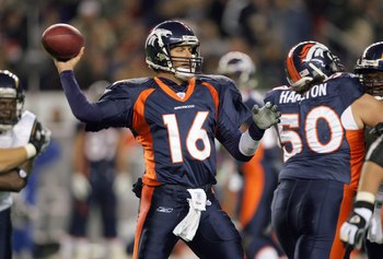DENVER - NOVEMBER 19: Jake Plummer #16 of the Denver Broncos passes the ball during the game against the San Diego Chargers on November 19, 2006 at Invesco Field at Mile High in Denver, Colorado. (Photo by Doug Pensinger/Getty Images)