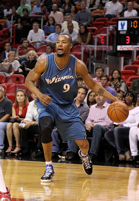 MIAMI, FL - FEBRUARY 25:  Rashard Lewis #9 of the  Washington Wizards handles the ball against the Miami Heat  at American Airlines Arena on February 25, 2011 in Miami, Florida. NOTE TO USER: User expressly acknowledges and agrees that, by downloading and