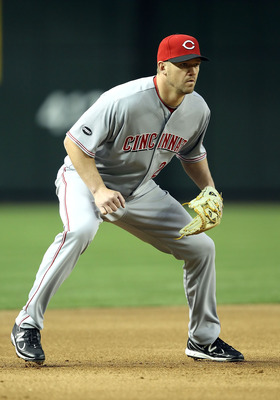 PHOENIX, AZ - APRIL 08:  Infielder Scott Rolen #27 of the Cincinnati Reds during the Major League Baseball home opening game against the Arizona Diamondbacks at Chase Field on April 8, 2011 in Phoenix, Arizona. The Diamondbacks defeated the Reds 13-2.  (P