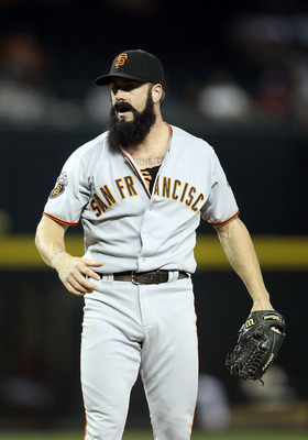 PHOENIX, AZ - JUNE 15:  Relief pitcher Brian Wilson #38 of the San Francisco Giants during the Major League Baseball game against the Arizona Diamondbacks at Chase Field on June 15, 2011 in Phoenix, Arizona. The Giants defeated the Diamondbacks 5-2.  (Pho