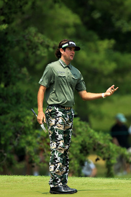 BETHESDA, MD - JUNE 16:  Bubba Watson reacts to missing a putt on the eigth hole during the first round of the 111th U.S. Open at Congressional Country Club on June 16, 2011 in Bethesda, Maryland.  (Photo by David Cannon/Getty Images)