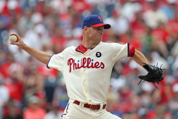 PHILADELPHIA - JUNE 12: Relief pitcher Ryan Madson #46 of the Philadelphia Phillies throws a pitch during a game against the Chicago Cubs at Citizens Bank Park on June 12, 2011 in Philadelphia, Pennsylvania. The Phillies won 4-3. (Photo by Hunter Martin/G