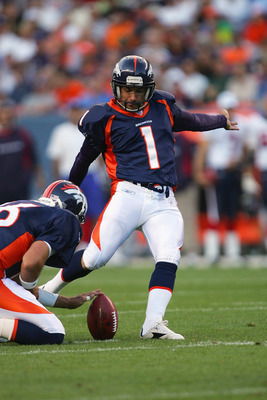 DENVER - AUGUST 27:  Jason Elam #1 of the Denver Broncos kicks a field goal attempt against the Houston Texans during their preseason NFL game at Invesco Field at Mile High on August 27, 2006 in Denver, Colorado.  The Broncos defeated the Texans 17-14. (P