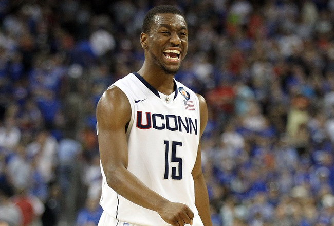 HOUSTON, TX - APRIL 02:  Kemba Walker #15 of the Connecticut Huskies reacts towards the end of the game against the Kentucky Wildcats during the National Semifinal game of the 2011 NCAA Division I Men's Basketball Championship at Reliant Stadium on April