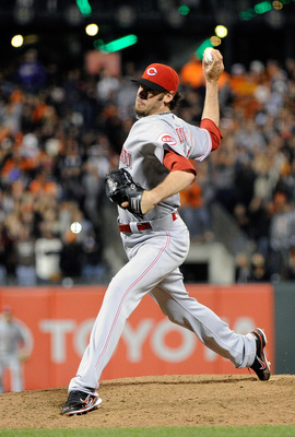 SAN FRANCISCO, CA - JUNE 10: Logan Ondrusek #66 of the Cincinnati Reds pitches against the San Francisco Giants in the ninth inning during a MLB baseball game June 10, 2011 at AT&T Park in San Francisco, California. The Giants won the game 3-2. (Photo by
